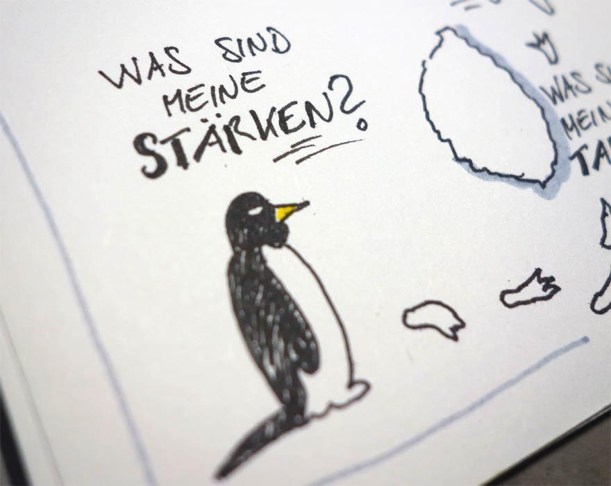 Was sind meine Stärken? Pinguin Sketchnote VITAMINP.info