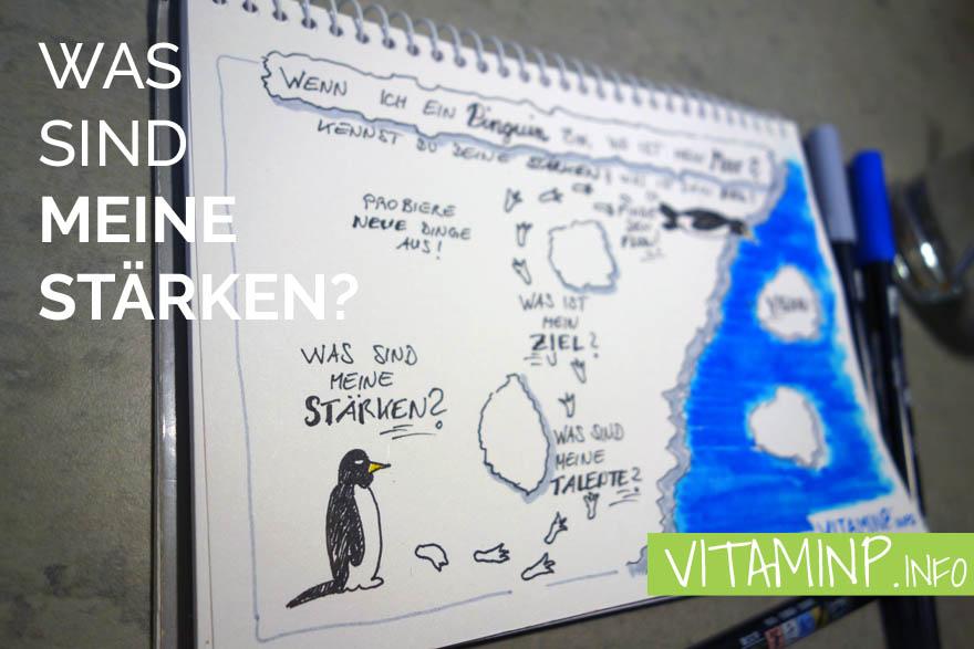 Was sind meineStärken? Titel Sketchnote VITAMINP.info
