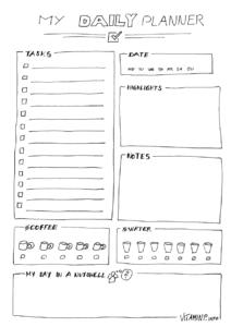 Mein kreativer Tagesplaner - Template - Sketchnote - VITAMINP.info