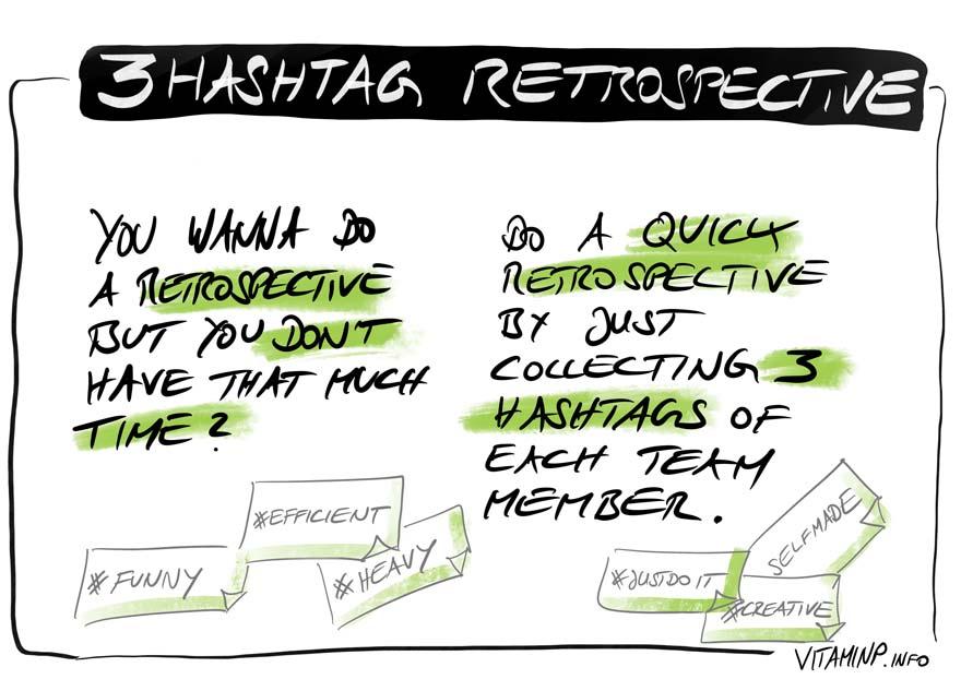 Retrospective 3#Hashtags - Sketchnote - VITAMINP.info