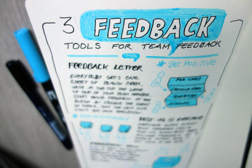 3 Feedback Tools für Feedback im Team - Top - Sketchnote - VITAMINP.info