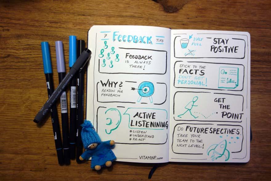 7 Feedback Tipps - Sketchnote - VITAMINNP.info