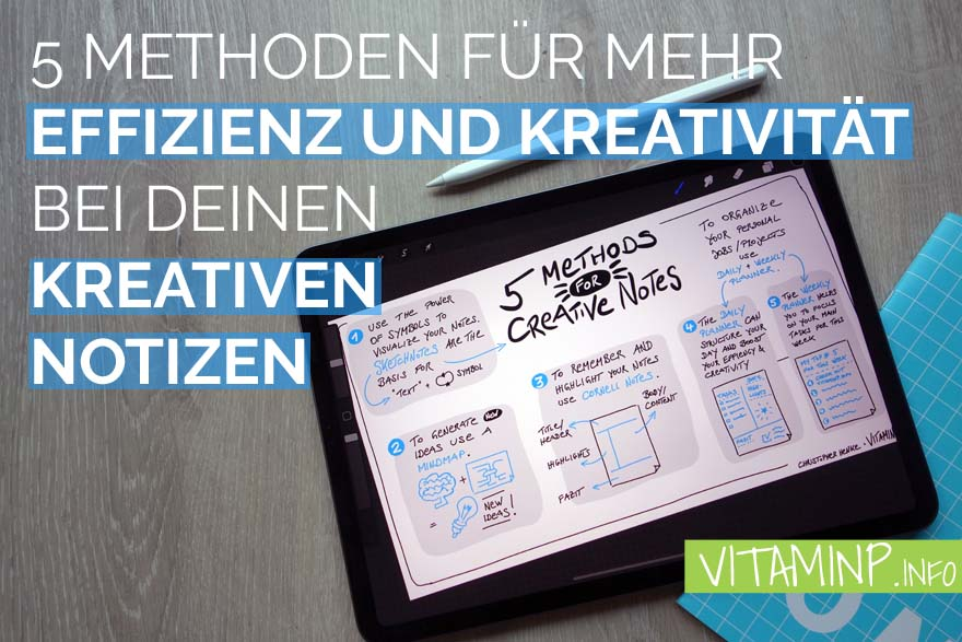 5 Methoden für kreative Notizen - Title - Sketchnote - VITAMINP.info
