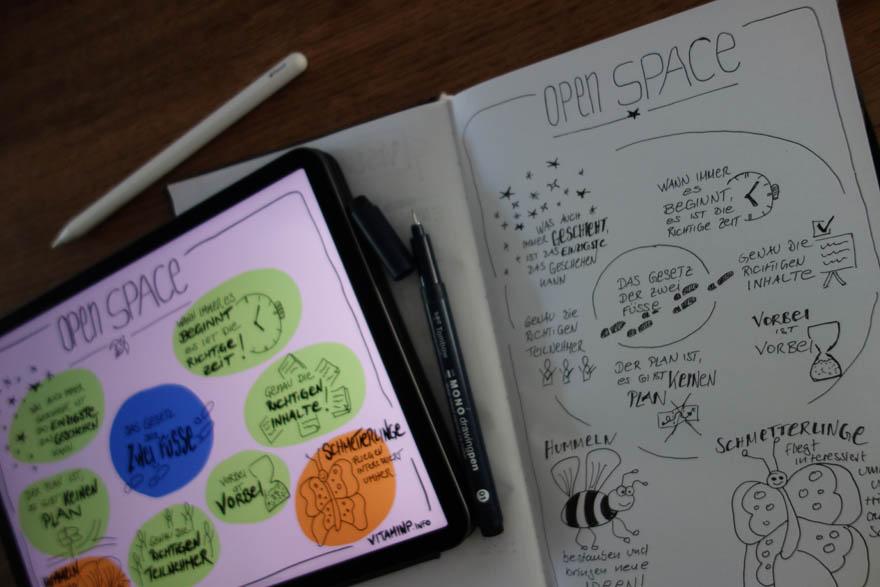 Open Space - Vom Entwurf zur finalen Fassung - Sketchnote - VITAMINP.info